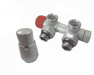 VARIO TERM - zestaw dekoracyjny TWINS zawór zespolony termostatyczny kątowy PRAWY ATSGS0200 CFK/P  RAL9006