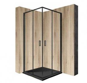 REA - Kabina prysznicowa drzwi przesuwne kwadratowa PUNTO BLACK 80x80
