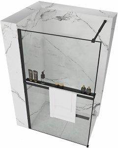 REA - Ścianka prysznicowa Bler 80 z półką i wieszakiem EVO
