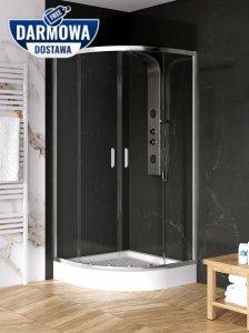 NEW TRENDY Kabina prysznicowa półokrągła 80x80 SUVIA R55 z brodzikiem ZS-0001