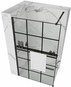 REA - Ścianka prysznicowa Bler-1 100 z półką i wieszakiem EVO