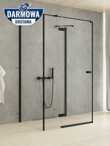 NEW TRENDY Kabina prysznicowa przyścienna drzwi uchylne REFLEXA BLACK 120x70x200 POLSKA PRODUKCJA