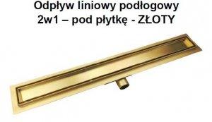 AQUALine - Odpływ liniowy posadzkowy złoty/gold 2w1 pod płytkę 80cm L04GL