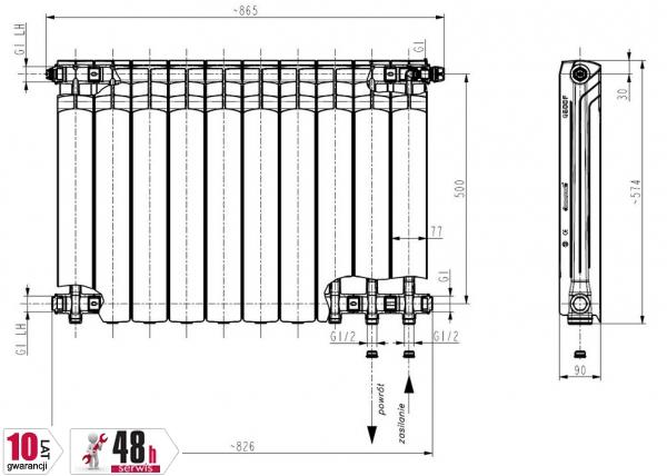 ARMATURA KRAKÓW - Grzejnik aluminiowy G 500 F/D 789-101-44