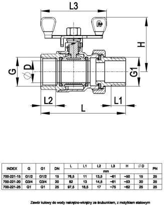 ARMATURA KRAKÓW - zawór wodny, pełnoprzepływowy, nakrętno-nakrętny z dławikiem 700-221-15