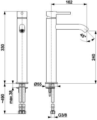 ARMATURA KRAKÓW KFA Bateria umywalkowa nablatowa czarna MOZA BLACK 5032-612-81