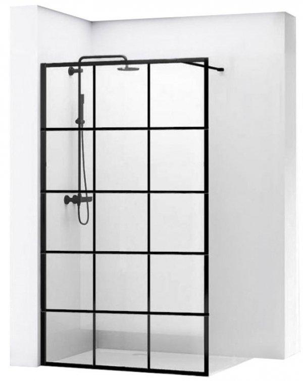 REA - Ścianka prysznicowa BLER-1 black/czarna Rozmiary 120