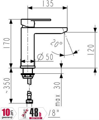 ARMATURA KRAKÓW - ARIANA bateria umywalkowa 4222-811-00