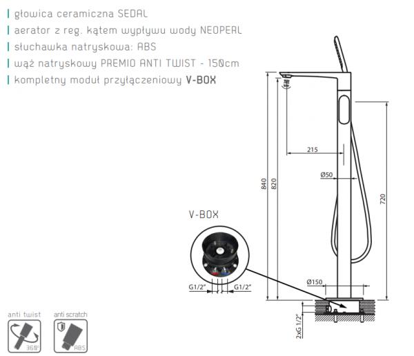 VEDO Bateria wannowa wolnostojąca ALETTA NERO / Nr KAT: VBA5008/CZ