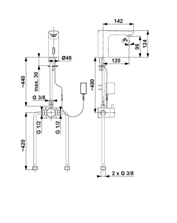 ARMATURA KRAKÓW KFA Bateria bezdotykowa bezdotykowa z zewnętrznym mieszaczem SALTO 592-210-00