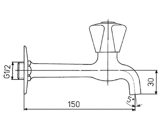 ARMATURA KRAKÓW - Zawór wodny, wypływowy umywalkowy ścienny wydłużony 202-011-00