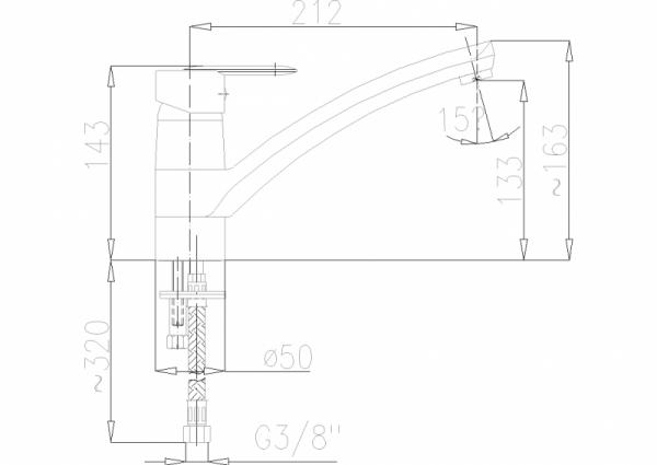 ARMATURA KRAKÓW - Cyrkon Bateria zleozmywakowa stojąca 583-915-00
