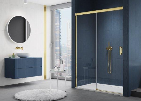 SANSWISS - Drzwi Prysznicowe CADURA CAS2 rozsuwane dwuczęściowe Rozmiary 100-180 profil GOLD/ZŁOTY