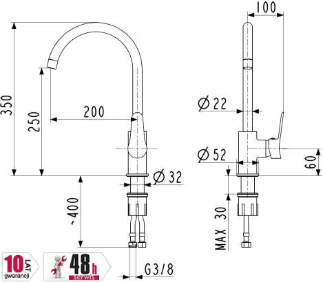 ARMATURA KRAKÓW bateria zlewozmywakowa stojąca boczna LEONIT 5313-815-00