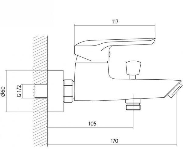 CERSANIT - Bateria wannowo-natryskowa ścienna z przełącznikiem AVEDO Solution S951-014