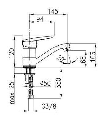 ARMATURA KRAKÓW - Bateria umywalkowa z obrotową wylewką INES 4502-925-00