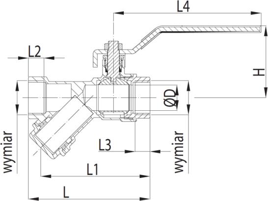 ARMATURA KRAKÓW -zawór wodny z filtrem skośnym, z dźwignią i z dławikiem 708-010-20