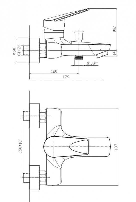 ARMATURA KRAKÓW - Topaz Bateria jednouchwytowa, wannowa 4014-010-00