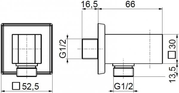 ARMATURA KRAKÓW - Uchwyt rączki natrysku kwadratowy 845-050-00 do baterii podtynkowej