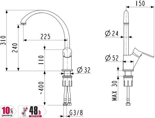 ARMATURA KRAKÓW - bateria zlewozmywakowa stojąca skośna LEONIT  5313-615-00