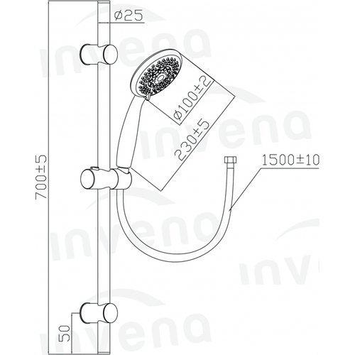 INVENA - Zestaw natruskowy 3-funkcyjny DARK Trend  AU-02-001-Q