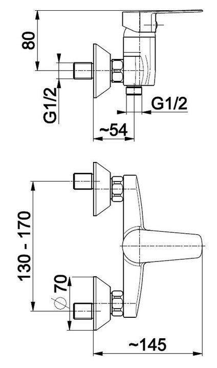 ARMATURA KRAKÓW - Bateria jednouchwytowa, natryskowa ścienna SOFIT 5116-010-00