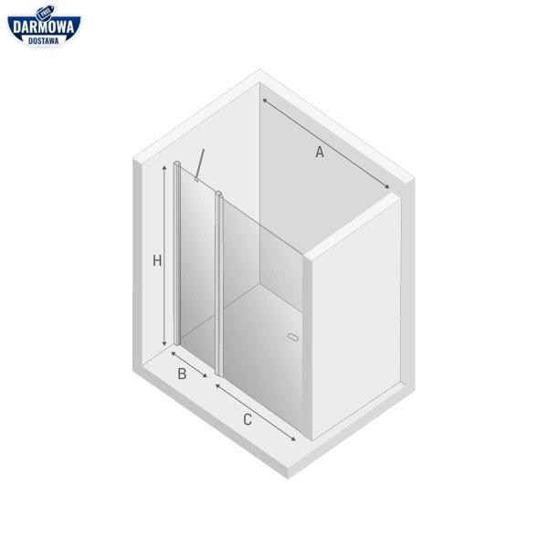 NEW TRENDY Drzwi wnękowe prysznicowe otwierane na zewnątrz i do wewnątrz NEW SOLEO BLACK 100X195 D-0242A