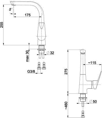 ARMATURA KRAKÓW - Topaz  Bateria zlewozmywakowa stojąca 4013-915-00