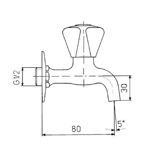 ARMATURA KRAKÓW - Zawór wodny, wypływowy umywalkowy ścienny z rozetą 200-010-00