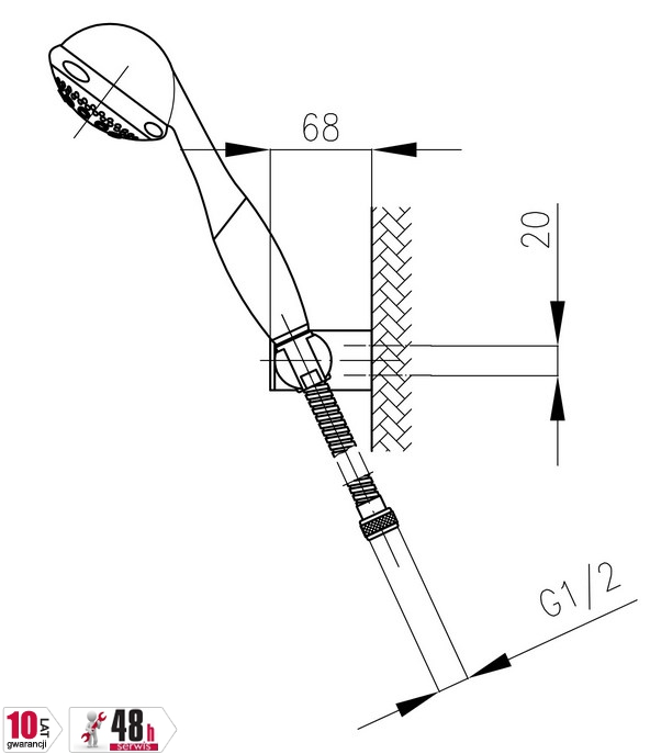 ARMATURA KRAKÓW - Natrysk punktowy obrotowy EOS do baterii natryskowych 841-207-00