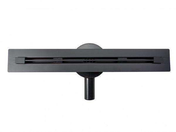 AQUALine - Odpływ liniowy podłogowy SLIM INVISIBLE CZARNY/BLACK Obrotowy syfon ROZMIARY 50-120cm RSP01BK