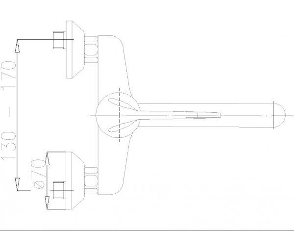 ARMATURA KRAKÓW - Bateria łokciowa jednouchwytowa zlewozmywakowa / kuchenna ścienna 470-980-00