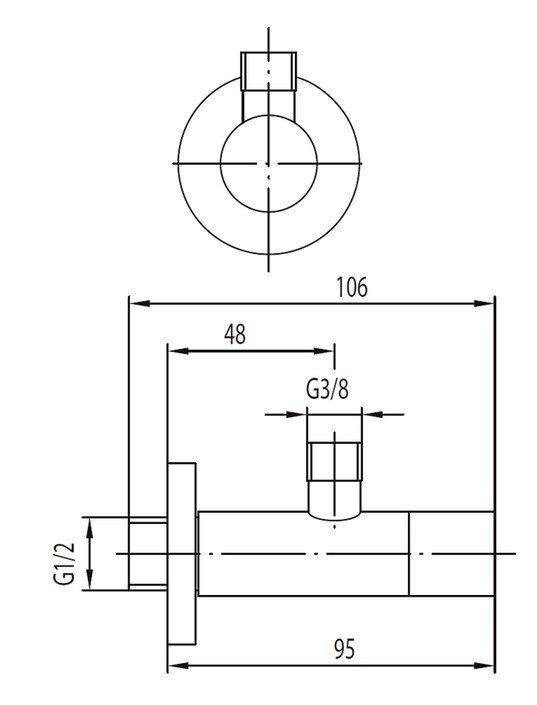 """ARMATURA KRAKÓW - Zawór wodny kątowy przepływowy do baterii stojących uchwyt typu """"walec"""" 244-040-00"""
