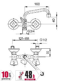 ARMATURA KRAKÓW - Bateria umywalkowa ścienna  z podłączeniem pralki uchwyt plastikowy metalizowany 300-359-00