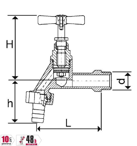 ARMATURA KRAKÓW - Zawór wodny, wypływowy czerpalny 3/4 ze złączką węża 190-234-07