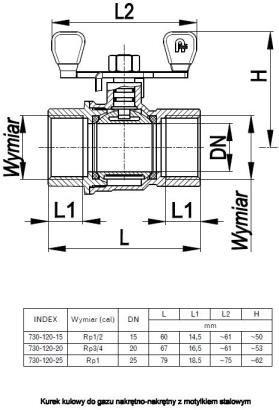 ARMATURA KRAKÓW - kurek kulowy do gazu, nakrętno-nakrętny 730-120-15