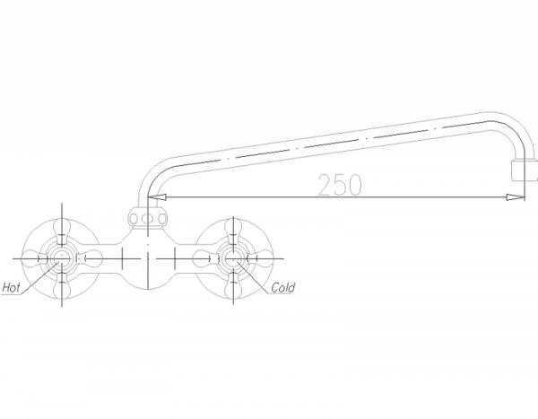 ARMATURA KRAKÓW - Retro Classic Bateria umywalkowa ścienna 380-520-00