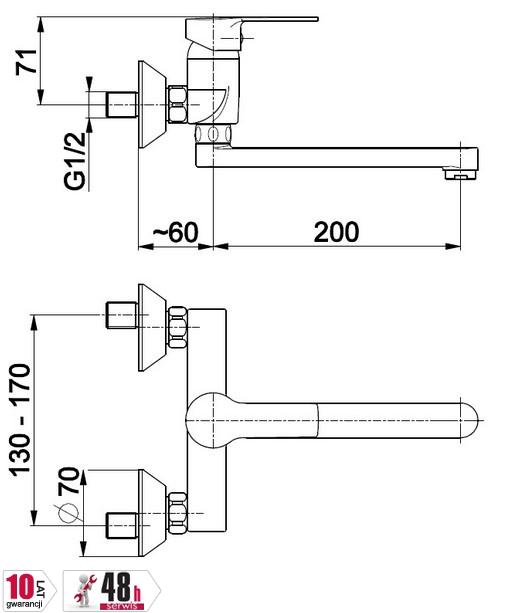 ARMATURA KRAKÓW - Bateria umywalkowa / zlewozmywakowa, jednouchwytowa MOHIT 5910-910-00