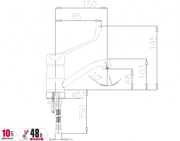 ARMATURA KRAKÓW - Bateria łokciowa jednouchwytowa umywalkowa stojąca z obrotową wylewką 472-985-00