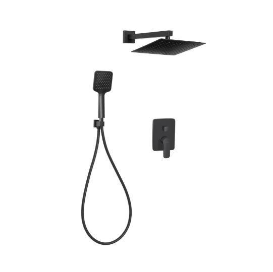 INVENA - Zestaw natryskowy podtynkowy SIROS z baterią podtynkową 2-funkcyjną Czarny/Black  BS-90-011-A