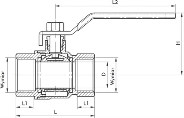 ARMATURA KRAKÓW - zawór wodny, pełnoprzepływowy, nakrętno-nakrętny z dławikiem 700-110-20