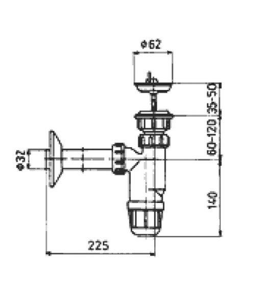 ARMATURA KRAKÓW - Syfon umywalkowy butelkowy PCV 602-255-44