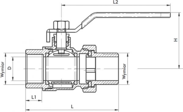 ARMATURA KRAKÓW - zawór wodny, pełnoprzepływowy, nakrętno-nakrętny z dławikiem 700-211-15