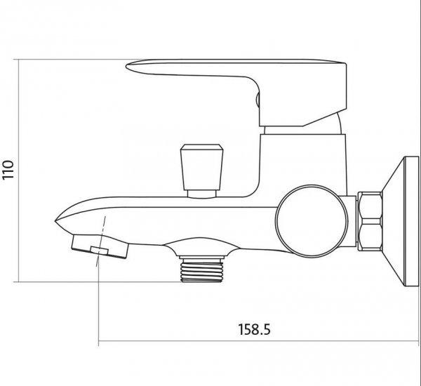 CERSANIT - Bateria wannowo-natryskowa ścienna z przełącznikiem LUMI Solution S951-005