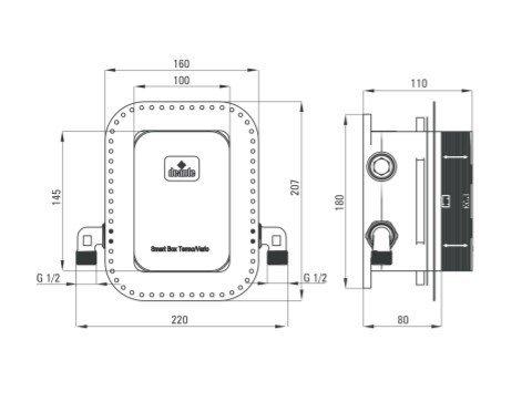 DEANTE - Zestaw BOX Nero/Czarny podtynkowy termostatyczny okrągły  BXYZNEBT