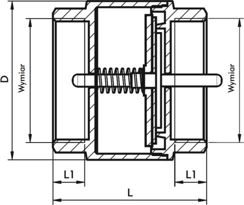 ARMATURA KRAKÓW - zawór zwrotny do wody z mosiężnym grzybkiem 710-010-32