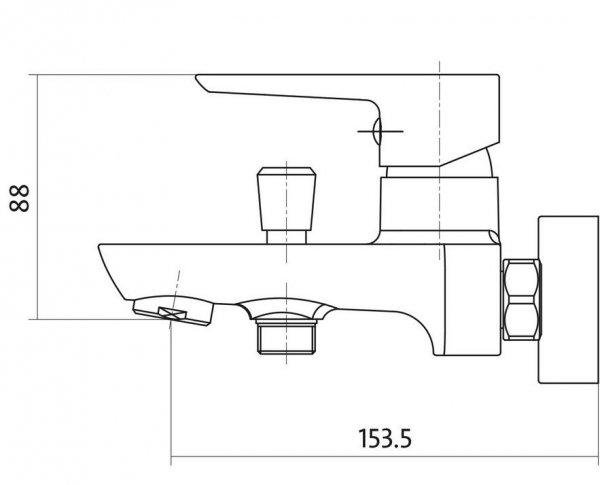 CERSANIT - Bateria wannowo-natryskowa ścienna z przełącznikiem MILLE WHITE Solution S951-008