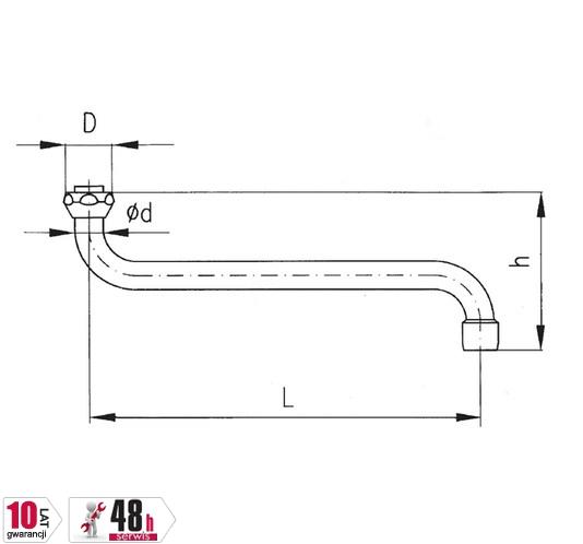 ARMATURA KRAKÓW - Wylewka S16/250 z regulatorem strumienia 831-105-00