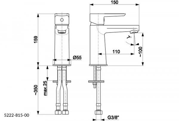 ARMATURA KRAKÓW Bateria umywalkowa niska NEON 5222-813-00