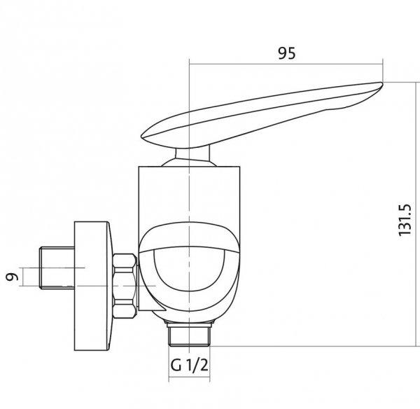 CERSANIT - Bateria natryskowa ścienna MAYO DESIGN S951-038